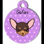 Médaille personnalisée violet pour petit chien marron et crème