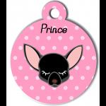 Médaille personnalisée rose pour petit chien noir