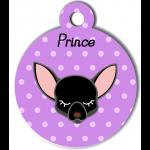 Médaille personnalisée violet pour petit chien noir