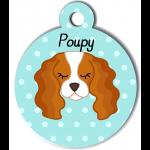 Médaille personnalisée bleu pour chien blanc et marron clair
