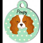 Médaille personnalisée vert pour chien blanc et marron clair