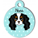 Médaille personnalisée bleu pour chien blanc noir et marron clair