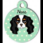 Médaille personnalisée vert pour chien blanc noir et marron clair