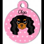 Médaille personnalisée rose pour chien noir et marron clair