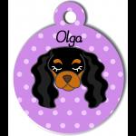 Médaille personnalisée violet pour chien noir et marron clair
