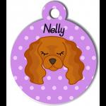Médaille personnalisée violet pour chien marron clair