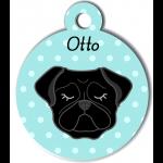 Médaille personnalisée bleu chien noir oreilles tombantes