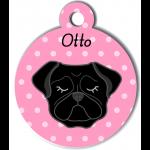 Médaille personnalisée rose chien noir oreilles tombantes