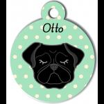 Médaille personnalisée vert chien noir oreilles tombantes
