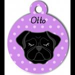 Médaille personnalisée violet chien noir oreilles tombantes