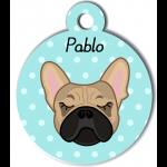 Médaille personnalisée bleu chien crème oreilles droites