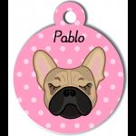 Médaille personnalisée rose chien crème oreilles droites