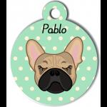 Médaille personnalisée vert chien crème oreilles droites
