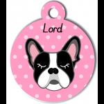 Médaille personnalisée rose chien noir et blanc oreilles droites