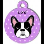 Médaille personnalisée violet chien noir et blanc oreilles droites