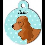 Médaille personnalisée bleu chien marron clair oreilles longues