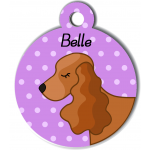 Médaille personnalisée violet chien marron clair oreilles longues