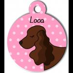 Médaille personnalisée rose chien marron foncé oreilles longues