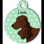 Médaille personnalisée vert chien marron foncé oreilles longues