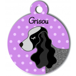 Médaille personnalisée violet chien gros et noir oreilles longues