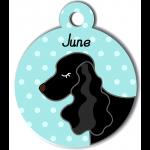 Médaille personnalisée bleu chien noir oreilles longues