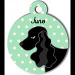 Médaille personnalisée vert chien noir oreilles longues