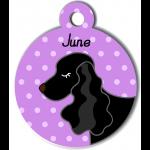 Médaille personnalisée violet chien noir oreilles longues