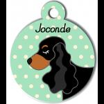 Médaille personnalisée vert chien noir et marron oreilles longues