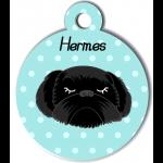 Médaille personnalisée bleu chien noir poils longs