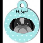 Médaille personnalisée bleu chien gris et noir poils longs