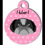 Médaille personnalisée rose chien gris et noir poils longs