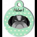 Médaille personnalisée vert chien gris et noir poils longs