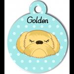 Médaille personnalisée bleu chien abricot poils longs