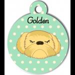 Médaille personnalisée vert chien abricot poils longs