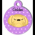 Médaille personnalisée violet chien abricot poils longs