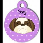 Médaille personnalisée violet chien crème et marron poils longs
