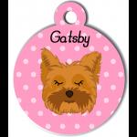 Médaille personnalisée rose chien marron clair poils mi longs