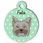 Médaille personnalisée vert chien gris poils mi longs