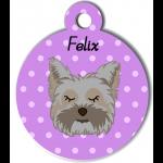 Médaille personnalisée violet chien gris poils mi longs