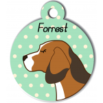 Médaille personnalisée vert chien marron clair tâches marron foncé et blanches