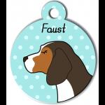 Médaille personnalisée bleu chien marron fonce tâches marron clair et blanches