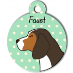 Médaille personnalisée vert chien marron fonce tâches marron clair et blanches