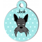 Médaille personnalisée bleu chien gris moustaches longues
