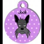 Médaille personnalisée violet chien gris moustaches longues