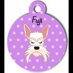 Médaille personnalisée violet chien blanc moustaches longues