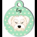 Médaille personnalisée vert chien blanc poils mi longs