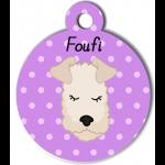 Médaille personnalisée violet chien frisé crème