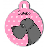 Médaille personnalisée rose chien gris foncé poils courts