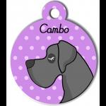 Médaille personnalisée violet chien gris foncé poils courts