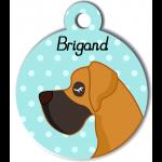 Médaille personnalisée bleu chien caramel et marron poils courts